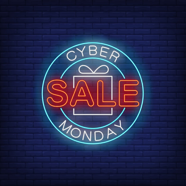 Cyber monday sale neon text in circle Free Vector