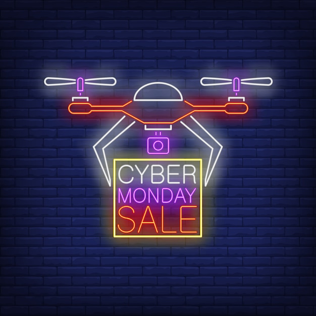 Cyber monday sale neon text in frame being carried by drone Free Vector