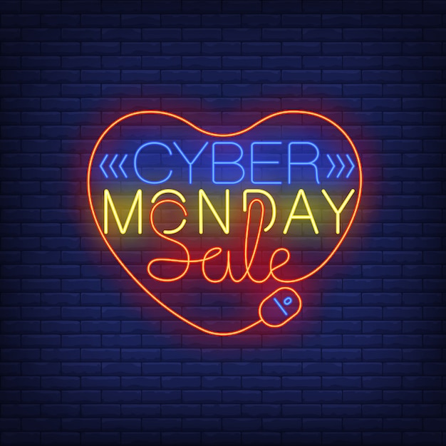 Cyber monday sale neon text in heart Free Vector