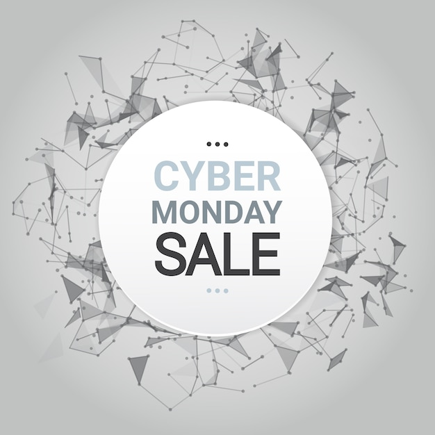 Cyber monday sale poster design over futuristic lines background technology shopping icon Premium Vector