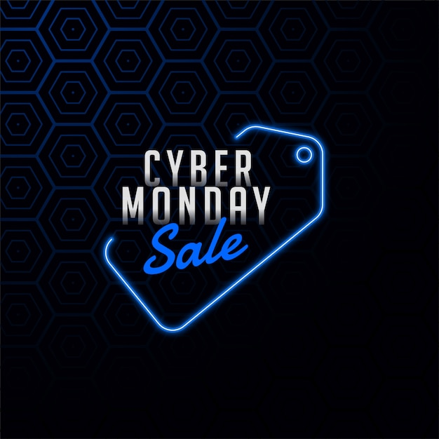 Cyber monday sale tag in neon style design banner Free Vector