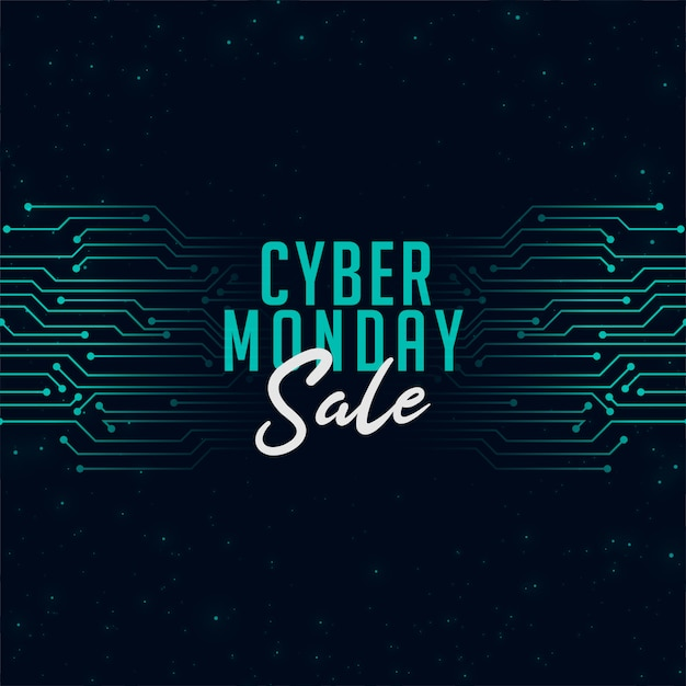 Cyber monday sale in technology style banner Free Vector