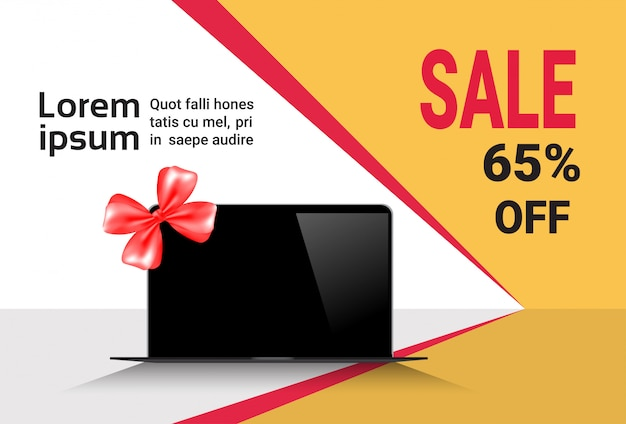 Cyber monday sale template banner discounts on modern laptop computers Premium Vector