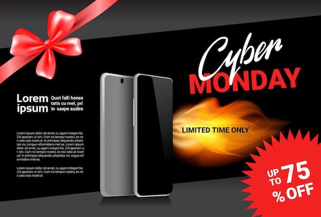 Cyber monday sale template banner discounts on modern smart phones design Premium Vector