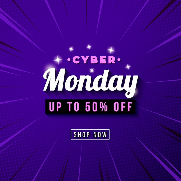 Cyber monday sale template banner with comic zoom background Free Vector