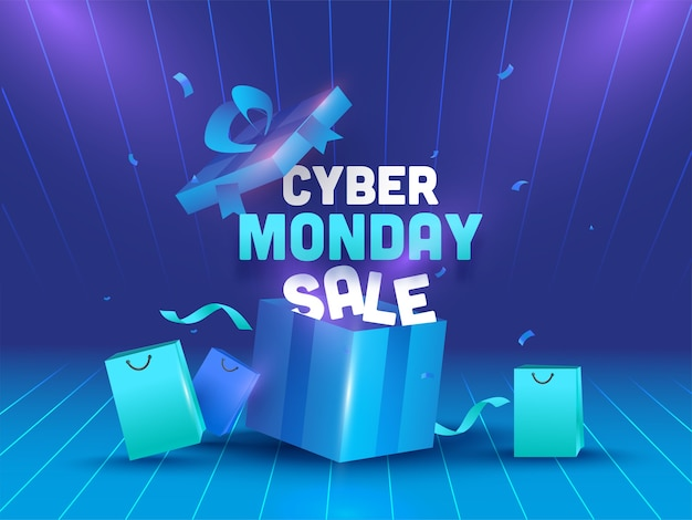 Cyber monday sale text with realistic open gift box Premium Vector