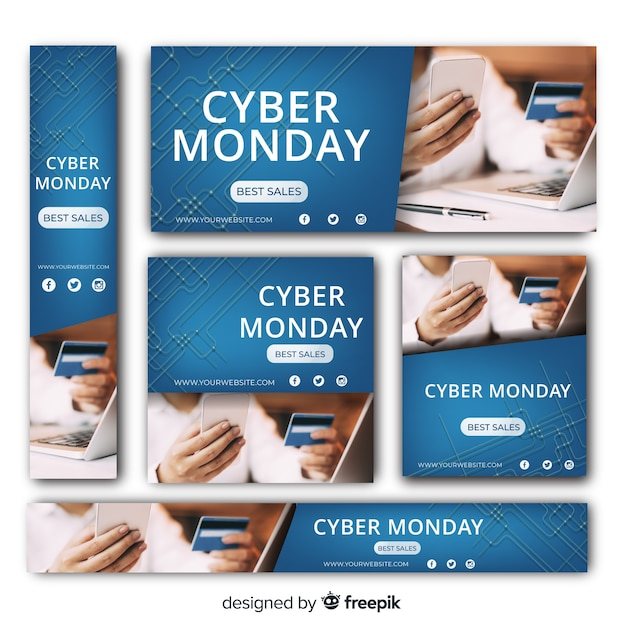 Cyber monday sale web banner collection Free Vector