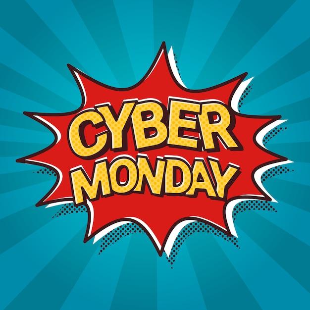 Cyber monday sale веб-баннер поп-арт комикс дисконт афиша Premium векторы