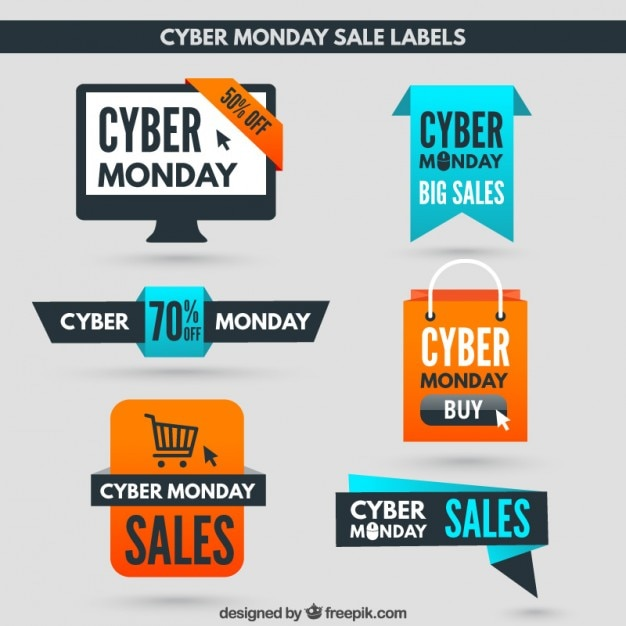 Cyber Monday Sales Labels Vector