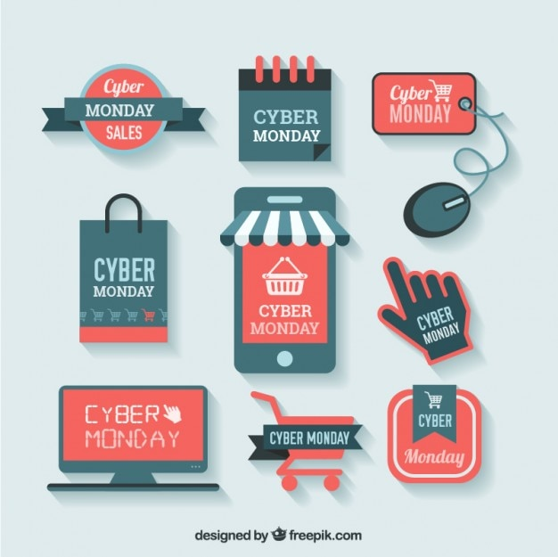 Cyber monday shopping labels Free Vector