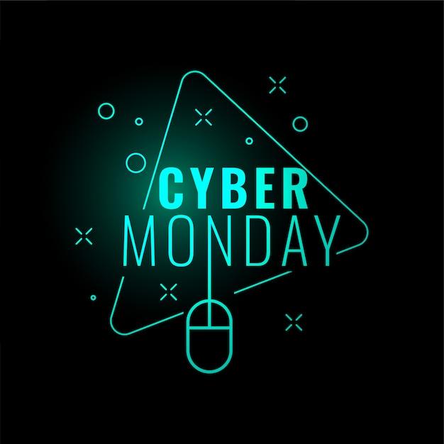 Cyber monday stylish digital glowing banner design Free Vector