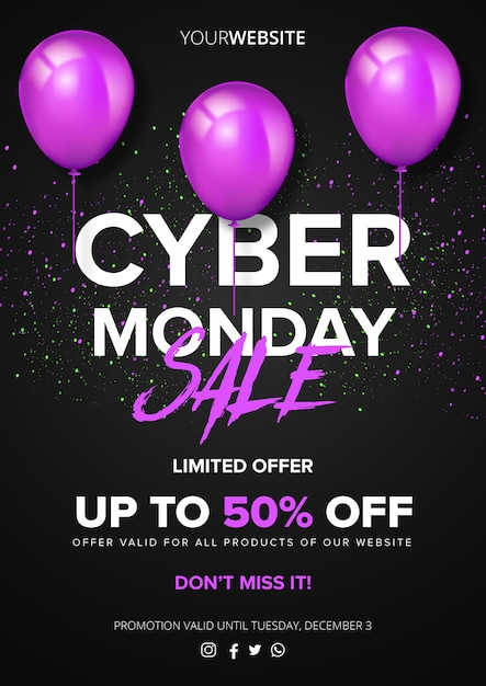 Cyber monday super sale poster with balloons Free Vector