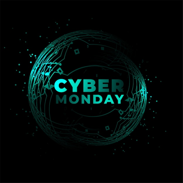 Cyber monday technology circuit style background Free Vector