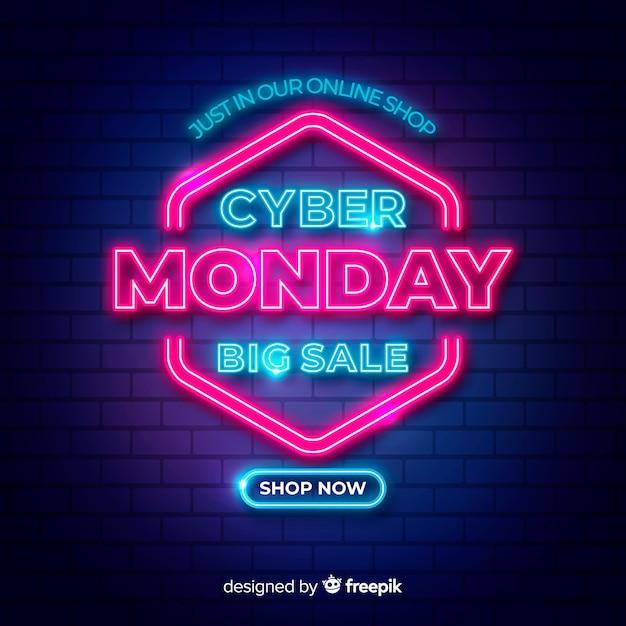 Большие продажи для cyber monday в неоновых дизайнерских огнях Бесплатные векторы