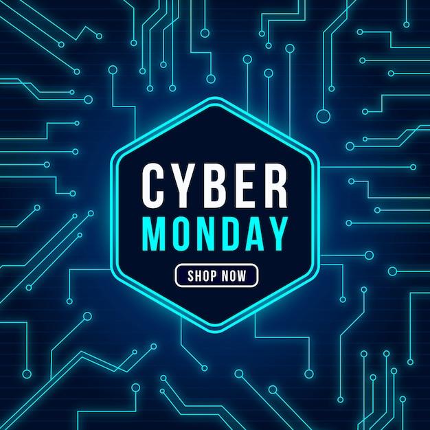 Реалистичная технология cyber monday концепция Бесплатные векторы