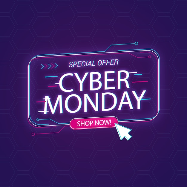 Концепция cyber monday в плоском дизайне Бесплатные векторы