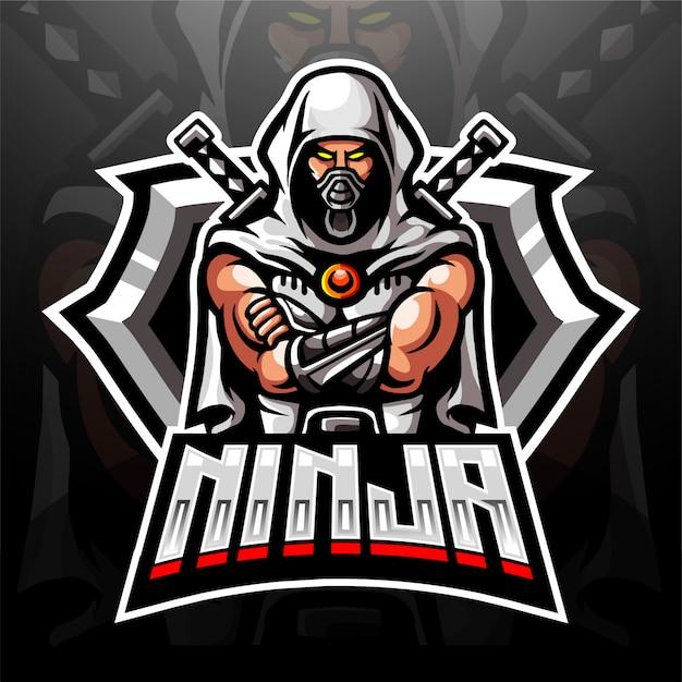 Логотип талисмана cyber ninja для электронного логотипа спортивных игр Premium векторы