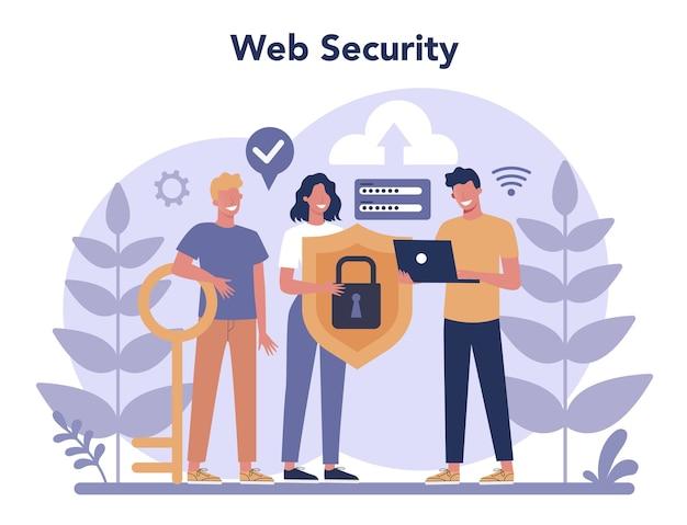 サイバーまたはwebセキュリティの概念。デジタルデータの保護と安全性のアイデア。現代のテクノロジーと仮想犯罪。インターネットの保護情報。 Premiumベクター