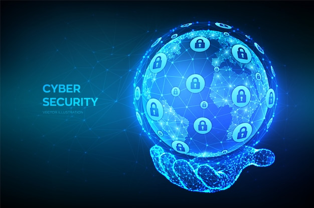 Cyber security. abstract polygonal earth planet globe in hand. cyber data security or network security idea. Premium Vector