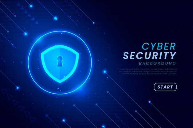 Cyber security background with shiny elements Free Vector