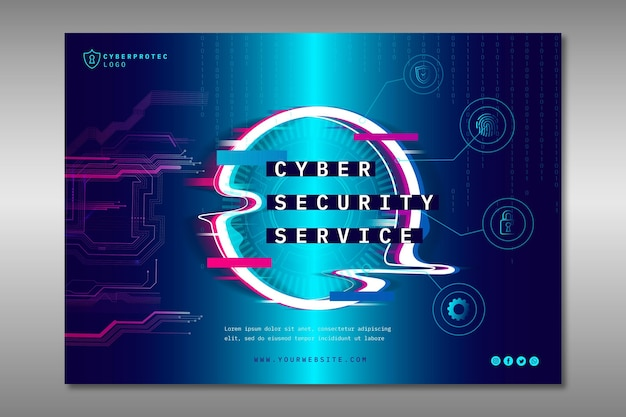 Cyber security banner template Free Vector