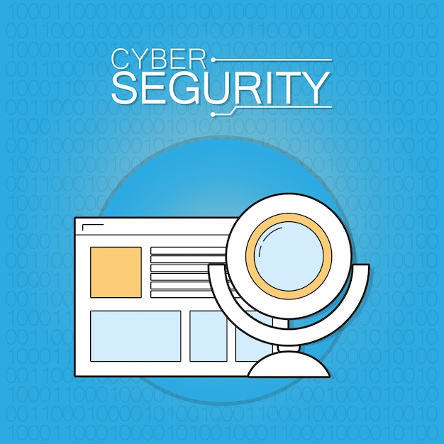 Cyber security browser with webcam Premium Vector