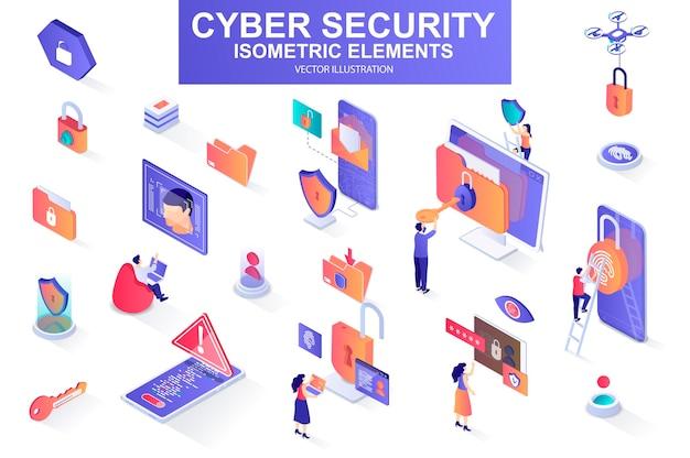 Cyber security bundle of isometric elements  illustration Premium Vector