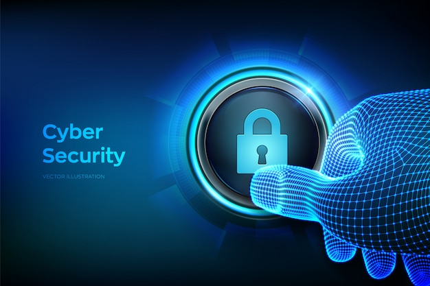 Cyber security. closeup finger about to press a button with lock symbol. Premium Vector