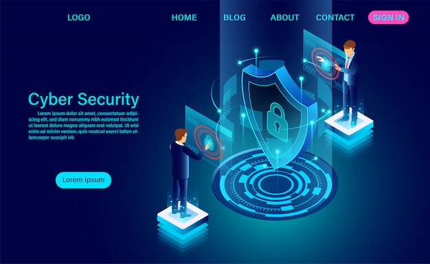Cyber security concept banner with businessman protect data and confidentiality and data privacy protection concept with icon of a shield and lock. flat isometric vector illustration Premium Vector
