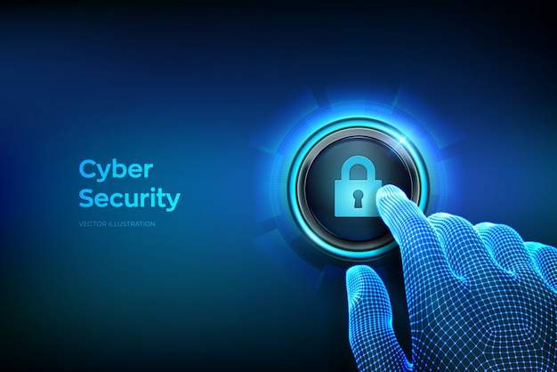 Cyber security concept. closeup finger about to press a button with lock symbol. Premium Vector