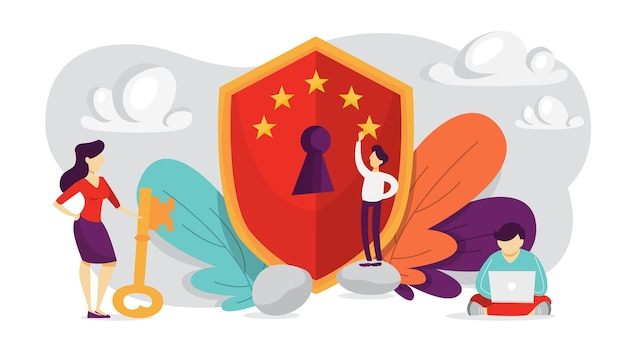 Cyber security concept. idea of digital data protection and safety. modern technology and virtual crime. access to information through password. gdpr system.   illustration Premium Vector