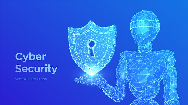 Cyber security concept. shield with keyhole. internet bot and cybersecurity. abstract robot holding security Premium Vector