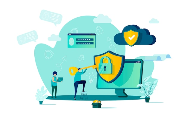Cyber security concept in  style with people characters in situation Premium Vector
