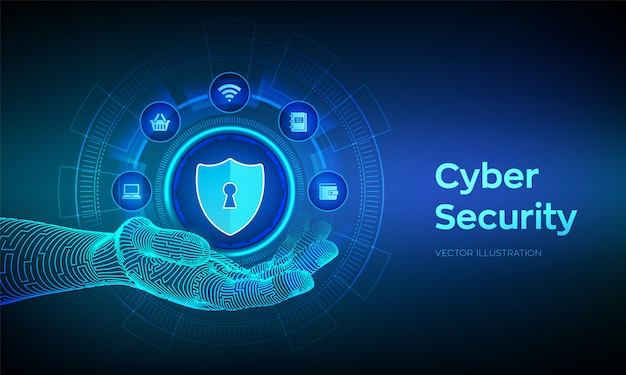Cyber security. data protection business  on virtual screen. shield protect icon in robotic hand. antivirus interface. robotic hand touching digital interface.  illustration. Premium Vector