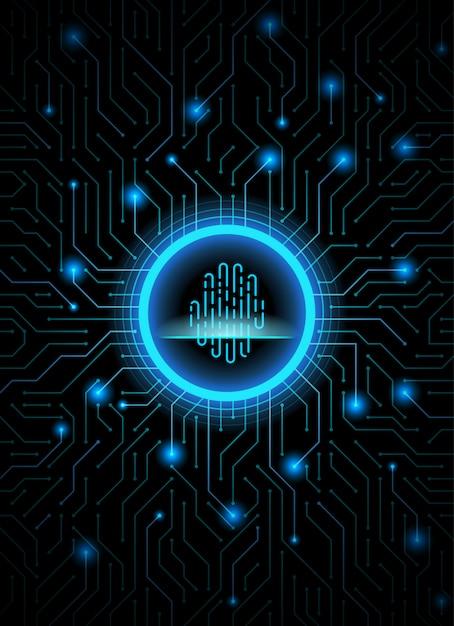 Cyber security fingerprint dark blue abstract digital conceptual technology background. Premium Vector
