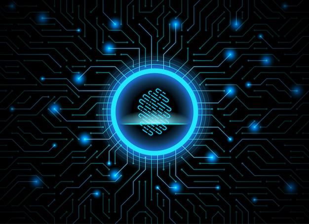 Cyber security fingerprint dark blue abstract digital technology background. Premium Vector