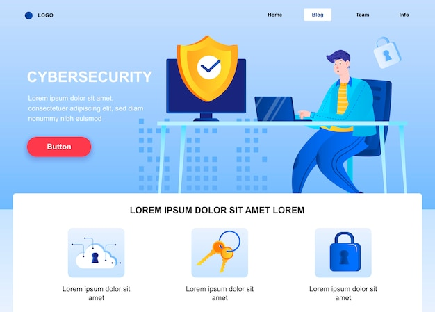 Cyber security flat landing page. engineer set up security system web page. Premium Vector