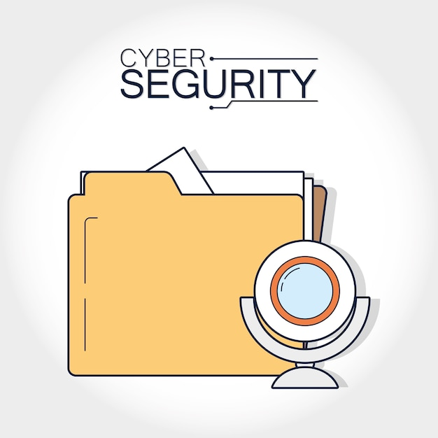 Cyber security folder with webcam Premium Vector