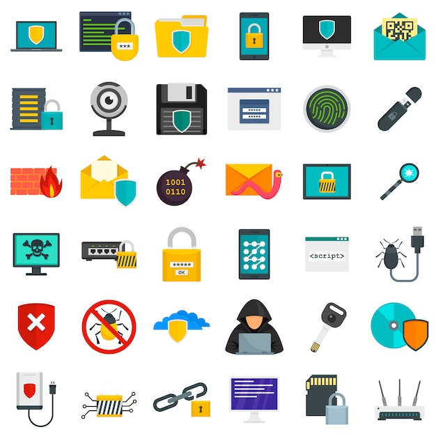 Cyber security icon set Premium Vector