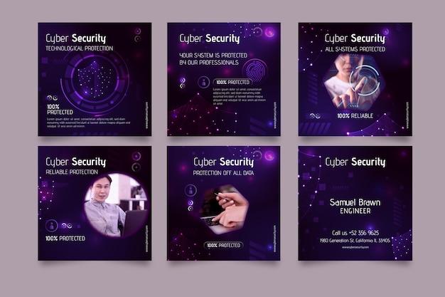 サイバーセキュリティインスタグラム投稿テンプレート 無料ベクター