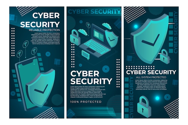 Modello di storie di instagram di sicurezza informatica Vettore gratuito