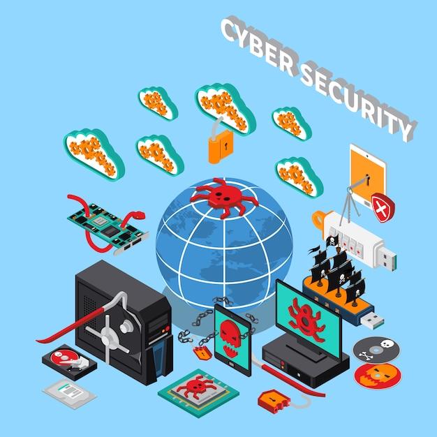 サイバーセキュリティのアイソメ図 無料ベクター