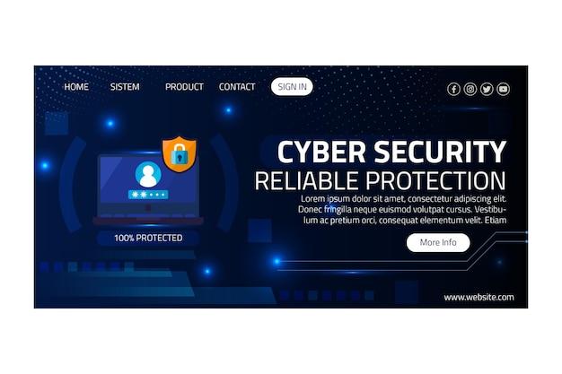 サイバーセキュリティのランディングページテンプレート 無料ベクター