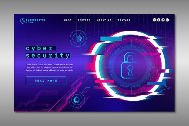 Pagina di destinazione della sicurezza informatica Vettore gratuito