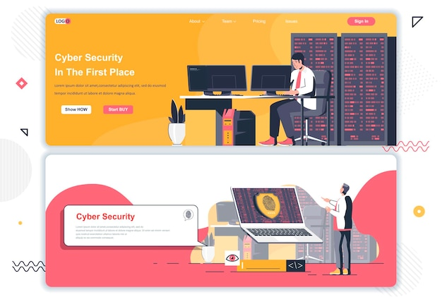 Cyber security landing pages Premium Vector