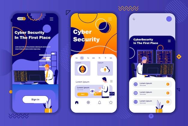 소셜 네트워크 스토리를위한 사이버 보안 모바일 앱 화면 템플릿 프리미엄 벡터