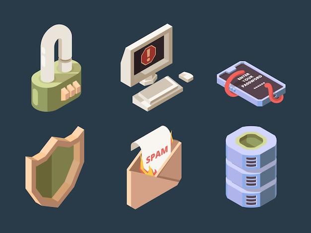 サイバーセキュリティ。オンラインddosハッカー攻撃スパムボットウイルスフィッシングネットワークデジタルデータ保護ベクトル等尺性。フィッシングと保護を再びウイルスとスパムの図 Premiumベクター