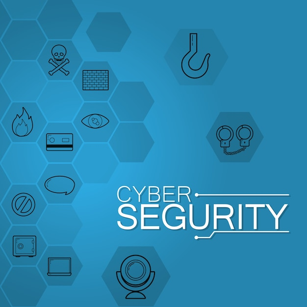 Cyber security round icons in blue colors Premium Vector