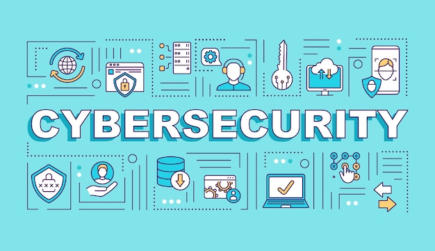 Cyber security system word concepts banner Premium Vector