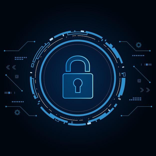 サイバーセキュリティ技術の概念、鍵穴のある盾アイコン、個人データ、 Premiumベクター